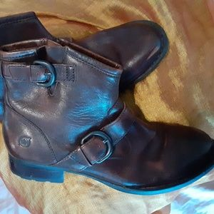 Born Distressed Brown Leather Raisa Ankle Boot